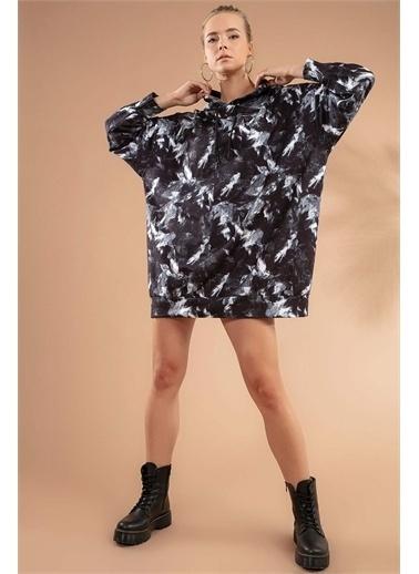 Pattaya Pattaya Kadın Baskılı Kapşonlu Sweatshirt Elbise P20W-4125-2 Renkli
